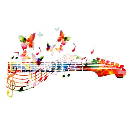 simbolos musicales: Diapasón de la guitarra colorida Vectores
