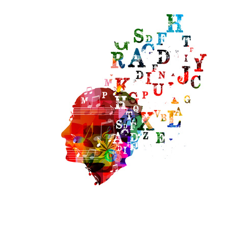lyrics: Colorful human head design Illustration