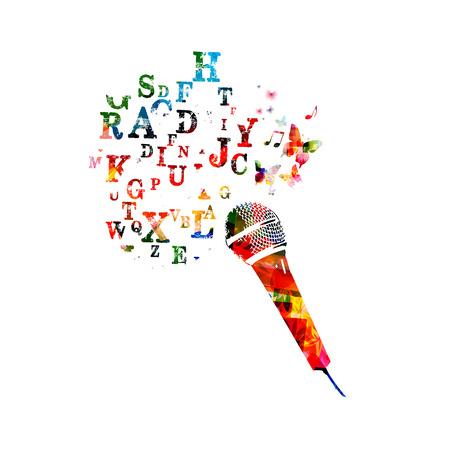 letras musicales: Vector del micrófono colorido