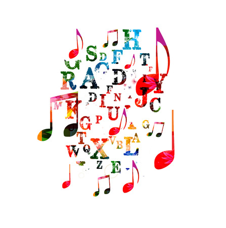 letras musicales: Fondo colorido de la música Vectores