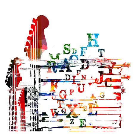 lyrics: Colorful guitar fingerboard design
