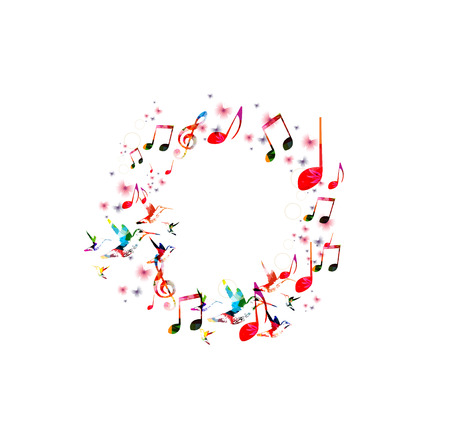벌새와 추상 음악 배경 일러스트