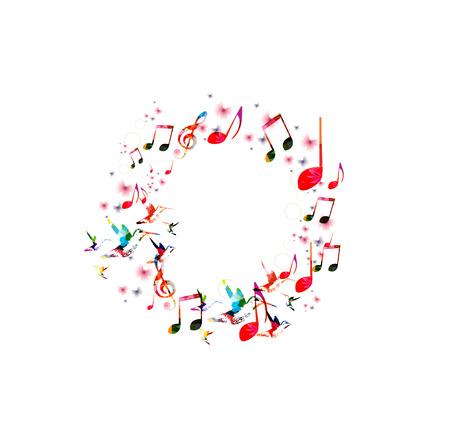 Abstracte muziek achtergrond met kolibries
