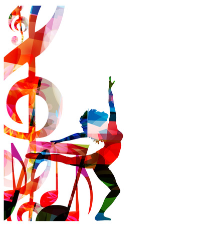 Abstract music background with a woman Illustration