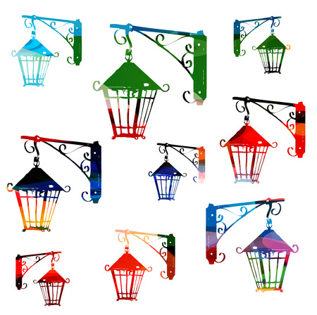 Colorful vector streetlamps background Vector
