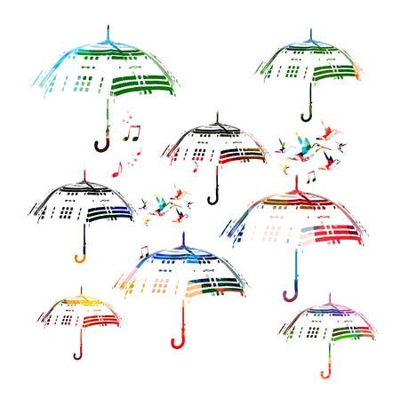 Colorful vector umbrellas with hummingbirds Vettoriali