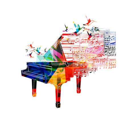 벌새와 화려한 피아노 디자인 일러스트
