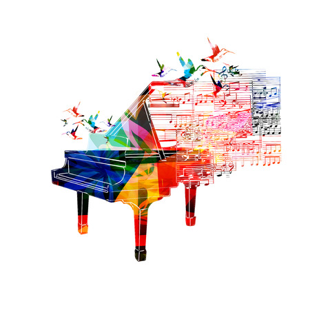 Colorful piano design with hummingbirds Stock Illustratie