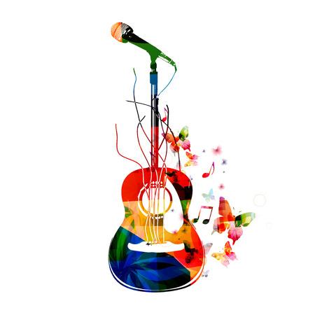 다채로운 기타 배경 일러스트
