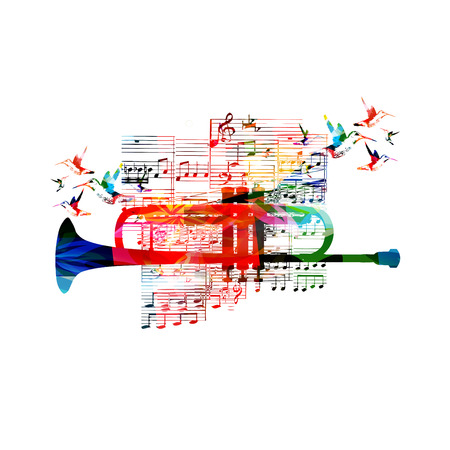 musical notes background: Colorful trumpet design with hummingbirds