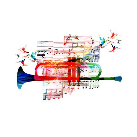 Conception de trompette colorée avec les colibris Banque d'images - 39562118