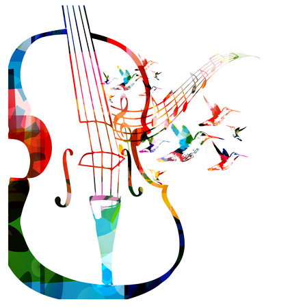 Colorful violoncello design with hummingbirds Фото со стока - 39587826