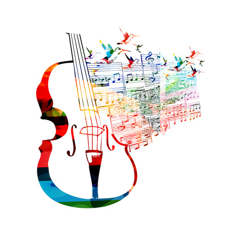 music stave: Colorful violoncello design with hummingbirds