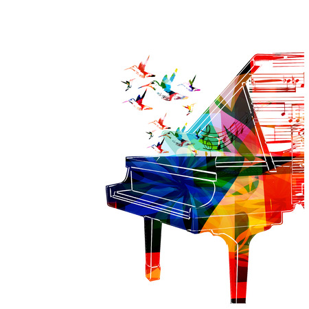 Colorful piano design with hummingbirds Çizim