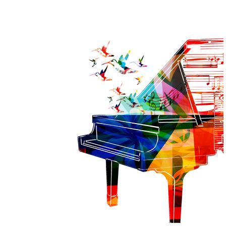 piano: Diseño del piano de colores con los colibríes