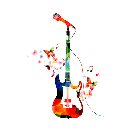 Colorful electric guitar with microphone