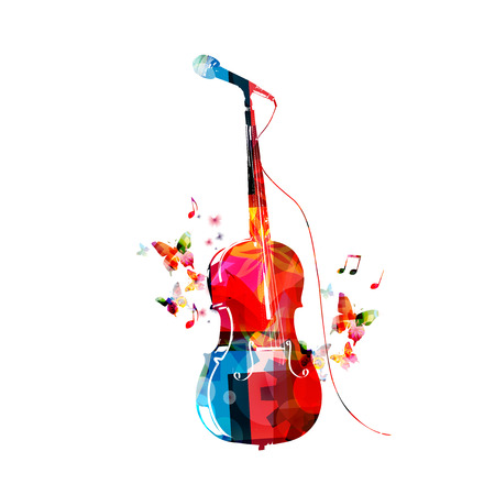 Colorful violoncello with microphone