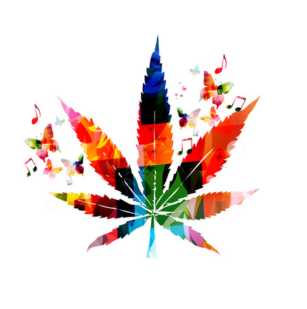 marijuana leaf: Colorful marijuana design Illustration