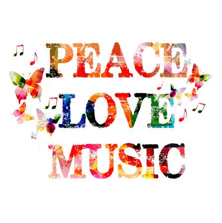 Peace love muziek kleurrijke inscriptie