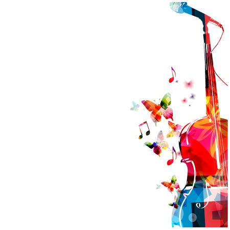 armonía: Cello colorido con diseño de micrófono Vectores