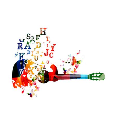 letras musicales: Fondo Guitarra colorida con las mariposas