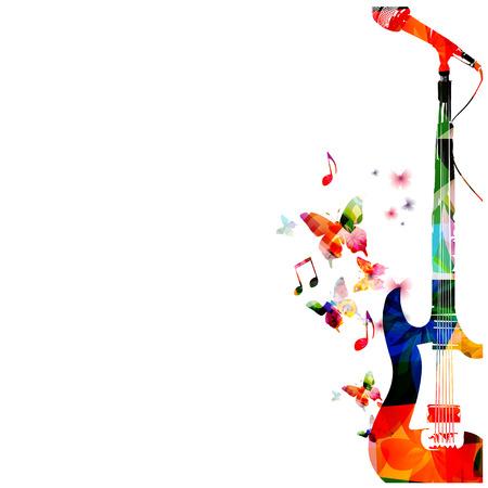 Kleurrijke gitaar met microfoon achtergrond