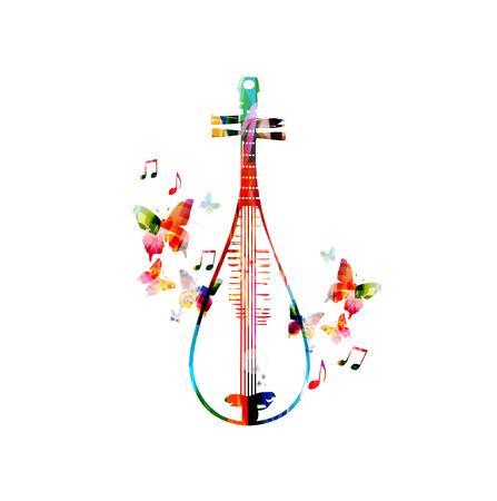 カラフルな中国琵琶デザイン  イラスト・ベクター素材