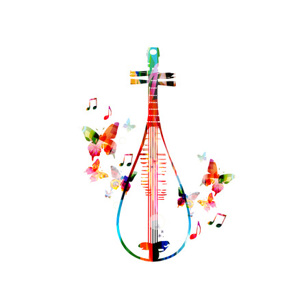 Colorful Chinese lute design Illustration