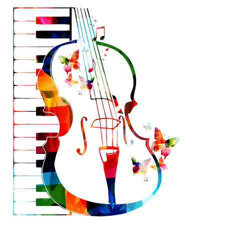 musical ornament: Colorful violoncello design with butterflies