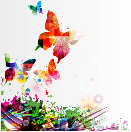 multicolour: Butterfly background Illustration