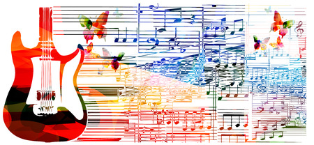 Colorful guitar design. Music background