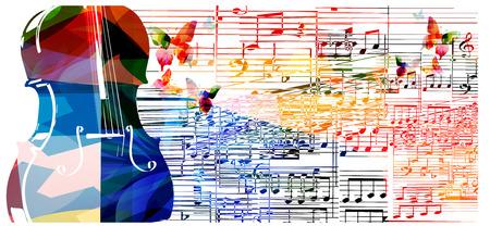 violines: Diseño violoncello colorido con las mariposas