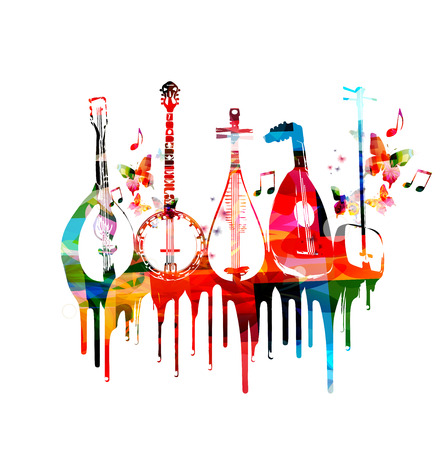 Group of music instruments with butterflies Illustration