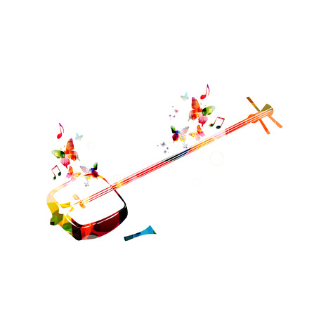 musical background: Colorful shamisen with butterflies