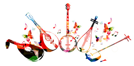 Group of music instruments with butterflies 일러스트