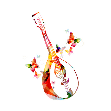 lute: Colorful mandolin with butterflies Illustration