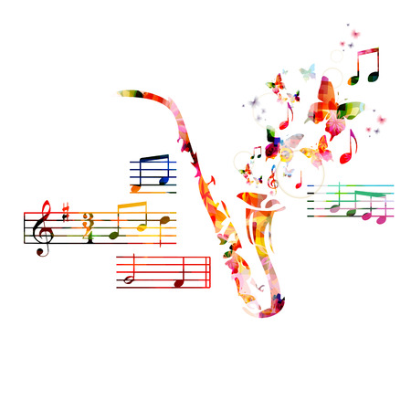 Colorful saxophone design with butterflies Stock Illustratie