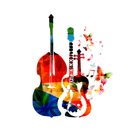 Group of music instruments with butterflies Ilustracja