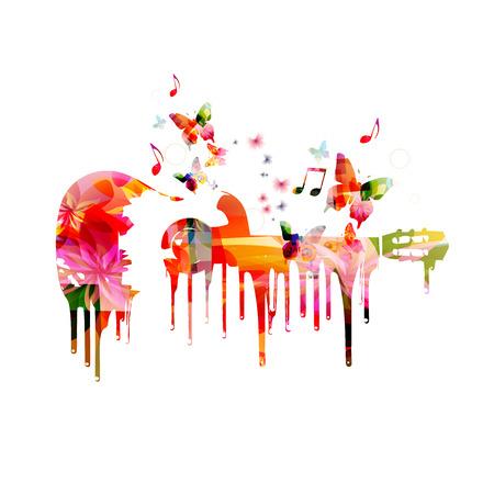 Guitarra colorida con las mariposas de fondo
