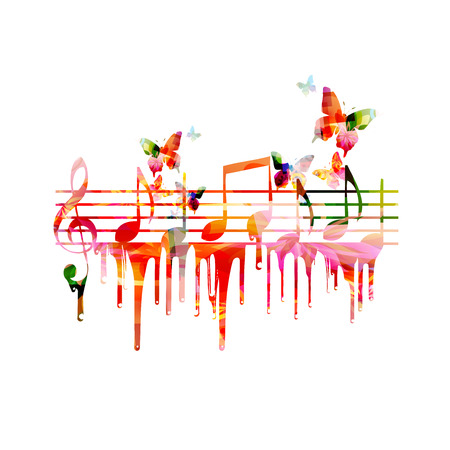 concerts: Colorful background with music notes