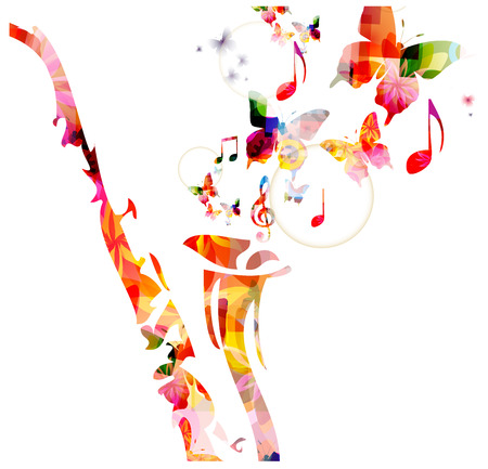 crotchets: Colorful saxophone design with butterflies. Music background