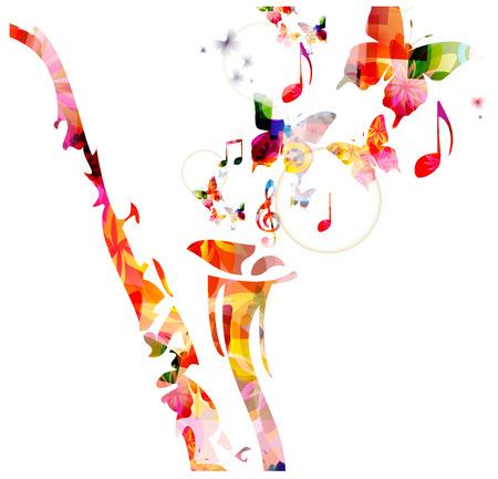 saxofon: Diseño saxofón colorido con las mariposas. Fondo de la música
