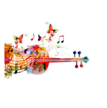 violines: Violoncello colorido con las mariposas Vectores