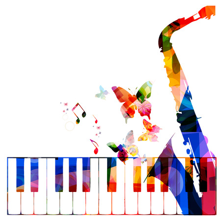 keyboard instrument: Colorful music background with instruments Illustration