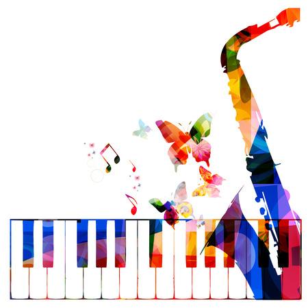 saxofón: Fondo colorido de la música con los instrumentos Vectores