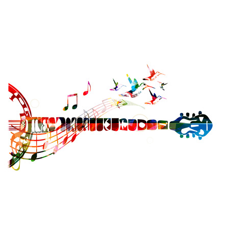 guitar neck: Colorful banjo neck with music notes Illustration