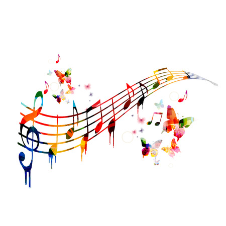 karaoke: Colorful background with music notes