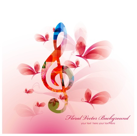 Colorful music background with butterflies. Vector