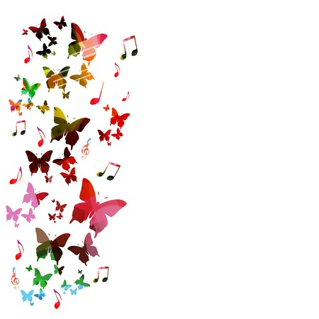 Colorful vector background with butterflies