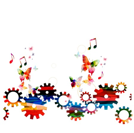 Colorful vector gears background with butterflies